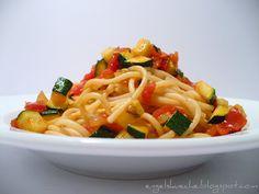 Spaghetti mit Zucchini-Tomaten-Sugo