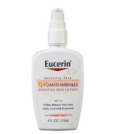 The ultra-gentle Eucerin Q10 Anti-Wrinkle Sensitive Skin Lotion SPF 15, $11.99, contains moisturizing glycerin and the antioxidants vitamin E and coenzyme Q10; those antioxidants are effective at repairing cell damage and blocking an enzyme called elastase that breaks down elastin.