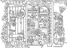 Bicycle - Printable Adult Coloring Page from Favoreads (Coloring book pages for adults and kids, Coloring sheets, Coloring designs) Garden Coloring Pages, Adult Coloring Book Pages, Printable Adult Coloring Pages, Colouring Pages, Coloring Books, Free Adult Coloring, Coloring Sheets For Kids, Kids Coloring, Paris Canvas