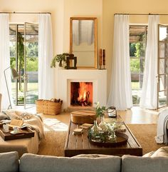 love this fireplace with mirror