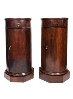 Pair 19th c. Italian Column Pedestal Cabinets