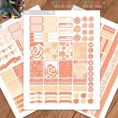 Peach color, Roses Printable Planner Stickers, Weekly/Monthly Kit, Erin Condren…