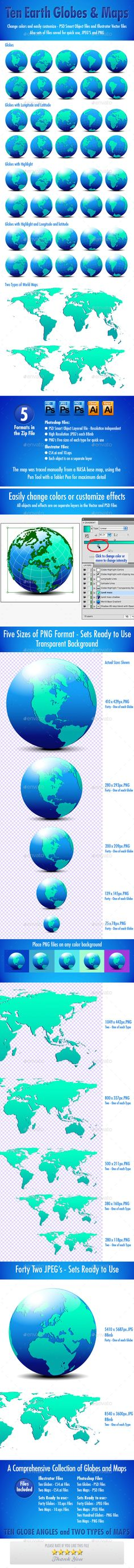 World globe map globe icon illustrations and font logo globes and world maps collection gumiabroncs Choice Image
