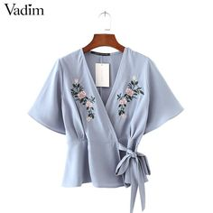 Women sweet flower embroidery cross V neck shirts sashes short sleeve blouse ladies streetwear brand tops blusas DT912  #sweet #cute #instalike #instafashion #dress #beautiful #fashion #glam #style #stylish