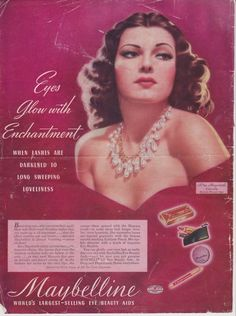 Legendary Hollywood actress Rita Hayworth, in a Maybelline advertisement from 1941.