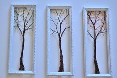 Framed Wall Art or Jewelry Organizer Holder Wire Tree with Spring , Winter and Fall Leaves -Useful Wire Art. $135.00, via Etsy.