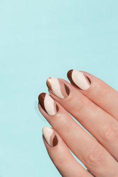 Brown & Beige Fall nail design    Brown Nails