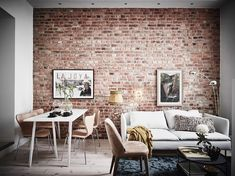 8 Chic ideas for the perfect living room space that's great for winter (Daily Dream Decor) Brick Interior, Interior Design Living Room, Living Room Designs, Living Room Decor, Living Spaces, Living Room Brick Wall, Design Interior, Ikea Interior, Condo Interior