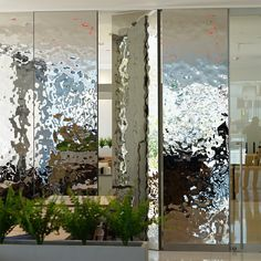 Japan, Miyazaki, Hotel, Movable Wall, Cladding EXYD-M . . . #exyd Design Entrée, Lobby Design, Door Design, Wall Design, Spa Interior, Lobby Interior, Interior Walls, Glass Wall Art, Stained Glass Art