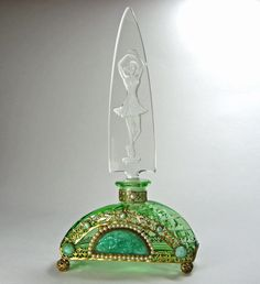 Czech Green Jeweled Perfume Bottle Figural Stopper from marshacraftsantiques on Ruby Lane