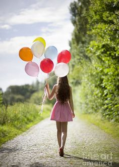 beautiful young woman with balloons Greeting Card on Fine Art America