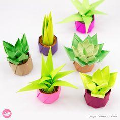 Mini Origami Succulent Plants Tutorial - Paper Kawaii