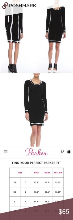 Parker black and white bodycon dress Ponte with contrast edging. Round neckline; long sleeves. Hem falls above the knee. Fitted silhouette. Exposed back zip. Rayon/nylon. Imported. Retails for $295 NWOT  Parker was created by Derek Farrar and Laurieanne Gilner in 2008 with the desire to reach the city girl with an unparalleled sense of style. The design duo knows the Parker girl loves sophistication and sexy all in the same look. Parker Dresses