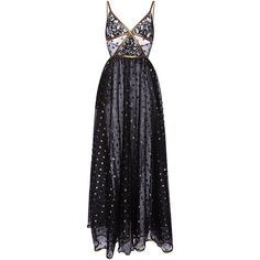 Elie Saab     Lace Maxi Dress With Gold Embroidered Detail ($6,975) ❤ liked on Polyvore featuring dresses, gowns, vestidos, long dresses, elie saab, black, gold maxi skirt, maxi dresses, gold gown and lace maxi skirt