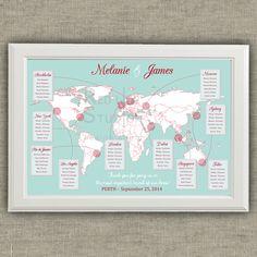 Tableau de mariage - Mappa del Mondo e destinazioni - tema viaggi - file da stampare di redlinecs su Etsy https://www.etsy.com/it/listing/204856703/tableau-de-mariage-mappa-del-mondo-e