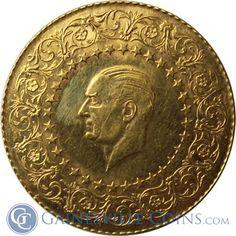1962-1968 Turkey 250 Kurush Gold Coin (.5171 oz of Gold) http://www.gainesvillecoins.com/category/712/african-gold-coins.aspx