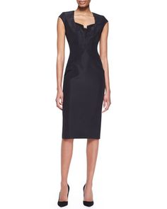 Cap-Sleeve Silk Faille Dress, Black by Zac Posen at Neiman Marcus.