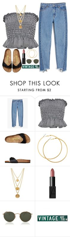 """""""loose self controle"""" by giannacormier ❤ liked on Polyvore featuring Monki, Birkenstock, H&M, Ben-Amun and Ray-Ban"""