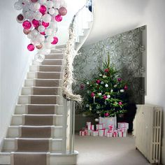 Looooove the pink hanging  Dreaming Of A PinkChristmas - Christmas Decorating -