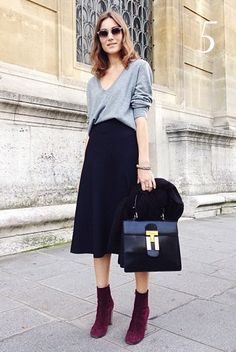 block heel outfits skirts - Google Search
