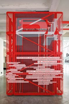 An elevator cage is transformed into an unique donor recognition installation at the Manhattan art school. Stand Design, Display Design, Booth Design, Wall Design, Set Design, Donor Wall, Wayfinding Signage, Signage Design, Environmental Graphics