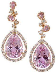 18KR Kunzite and Diamond Earrings: Jewelry: Amazon.com
