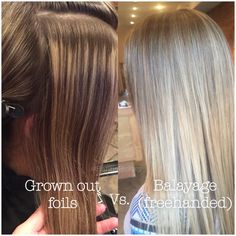 Traditional grown out foils/foiled highlights vs. Balayage. Made this subtle blonde sombre. @HannaBickley on Instagram