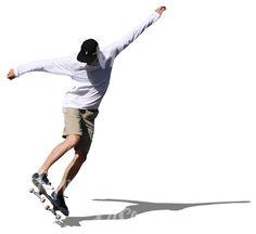 A teenage boy doing a stunt on a skateboard