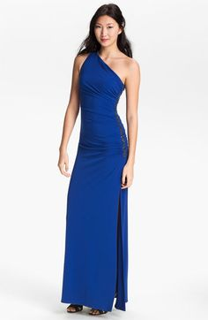 Innauguration dress: Laundry by Shelli Segal Beaded Panel One Shoulder Jersey Gown   Nordstrom