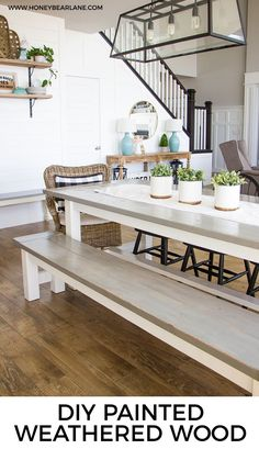 Farmhouse table and a diy painted weathered wood finish - Easy Diy Furniture Diy Furniture Projects, Furniture Makeover, Wood Projects, Furniture Plans, Painted Furniture, Furniture Design, Diy Design, Diy Farmhouse Table, Farmhouse Style