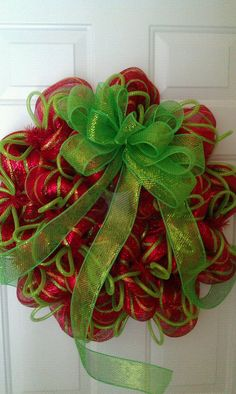 Red, green, and gold Christmas Deco Mesh Wreath