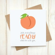 Funny Emoji Card - Personalised Everything's Peachy Emoji Card - Love Emoji Card - Peach Emoji Card - Anniversary Card - Pun Card - Punny - Innuendo - Let's Dream - Etsy Funny Emoji, Funny Puns, Peach Puns, Valentine History, Drawings For Boyfriend, Pun Card, Vinyl Projects, Sticky Notes, Anniversary Cards