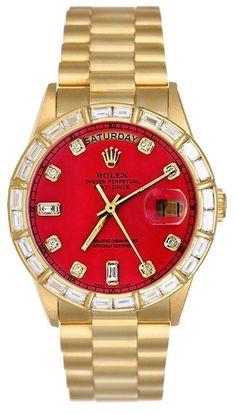 Rolex Mens President Yellow Gold Watch, Red Diamond Dial & Bezel, President Band #Rolex #Fashion