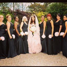 So Coco Rouge, hair, make-up, Liverpool, Wirral, makeup artist, wedding, bridal black bridesmaids dresses black tie wedding vera wang blush pink dress hair down
