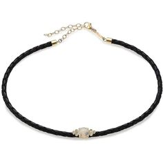 Jacquie Aiche Moonstone, Diamond, 14K Yellow Gold & Leather Braided... ($1,085) ❤ liked on Polyvore featuring jewelry, necklaces, gioielli, apparel & accessories, diamond necklace, bezel set diamond necklace, 14k yellow gold necklace, gold choker and gold choker necklace