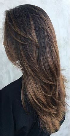 warm cocoa brunette highlights. hairstyles long layers
