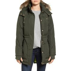 Women's Sam Edelman Water Resistant Faux Fur Trim Parka ($120) ❤ liked on Polyvore featuring outerwear, coats, dark olive, parka coat, faux fur trim coat, utility coat, water resistant coat and faux fur trim parka