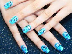 21 Diseños de Uñas con Flores en Azul Clarito - ε Diseños de Uñas Decoradas з