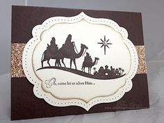 Card Recipe: Stamps- Come to Bethlehem; Paper- Early Espresso, Very Vanilla, champagne glimmer paper; Ink- Early Espresso; Accessories- Labels framelits dies, Festive Paper Piercing pack, pearl, sponge, dimensionals