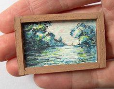 OOAK 1/12 Escala casa de muñecas Miniatura Pintura - Claude Monet - Mañana Sobre el Jábega
