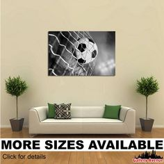 Wall Art Giclee Canvas Picture Print Gallery Wrap Ready to Hang Soccer ball and net bw Soccer Art, Soccer Room, Funny Soccer, Youth Soccer, Canvas Pictures, Print Pictures, Cool Bedrooms For Boys, Soccer Backgrounds, Canvas Wall Art