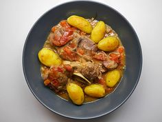 Lamb neck stew served with potatoes