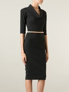 Victoria Beckham cowl neck belted dress