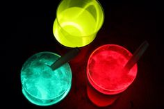 Glow in the dark drinks.  Plastic cup, glow bracelet and plastic cup on top, fill with drink and see it glow.  So fun!