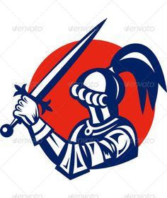 Knight Brandishing Sword Retro Style