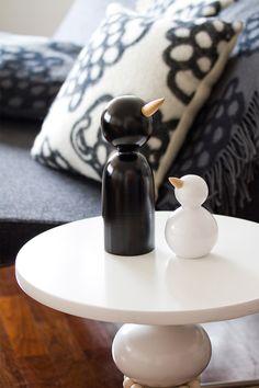 Tirppa and Kukkuu figurines - Aarikka home decor Finland Danish Design, Modern Design, Cover Letter Design, Dark Christmas, Hanging Tapestry, Hanging Ornaments, Wood Toys, Wood Turning, Home Decor Inspiration