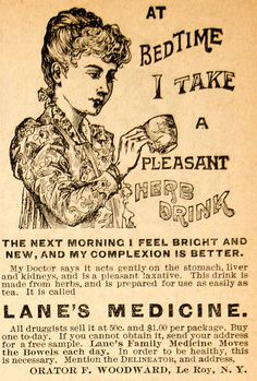 1893 Ad Lanes Medicine Laxative Herb Drink Tea Orator F Woodward Victorian Woman