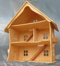 Handcrafted wooden house Bio / Natural wood Dollhouse Waldorf, Montessori, handmade, toys - All About Balcony Dollhouse Toys, Wooden Dollhouse, Wooden Dolls, Handmade Wooden, Handmade Toys, Big Doll House, Kids Woodworking Projects, Woodworking Tools, Cool Tree Houses