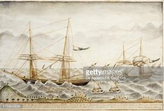 Illustration : Sardinian brigantine Sant'Anna di Quinto throwing cargo overboard to survive storm, 1821, Watercolour by unknown artist, Italy, 19th century