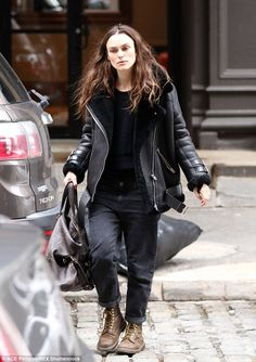 Off duty: Keira Knightley cut a casual figure in a cosy black leather coat and boots as she ran errands in New York on Wednesday morning
